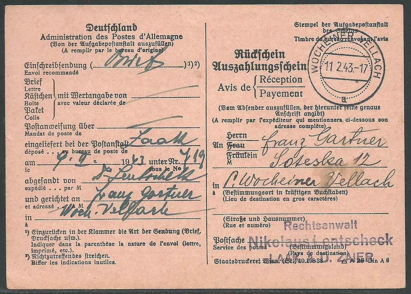 Slovenia Styria German Occupation Lot 78cover Stationery Post